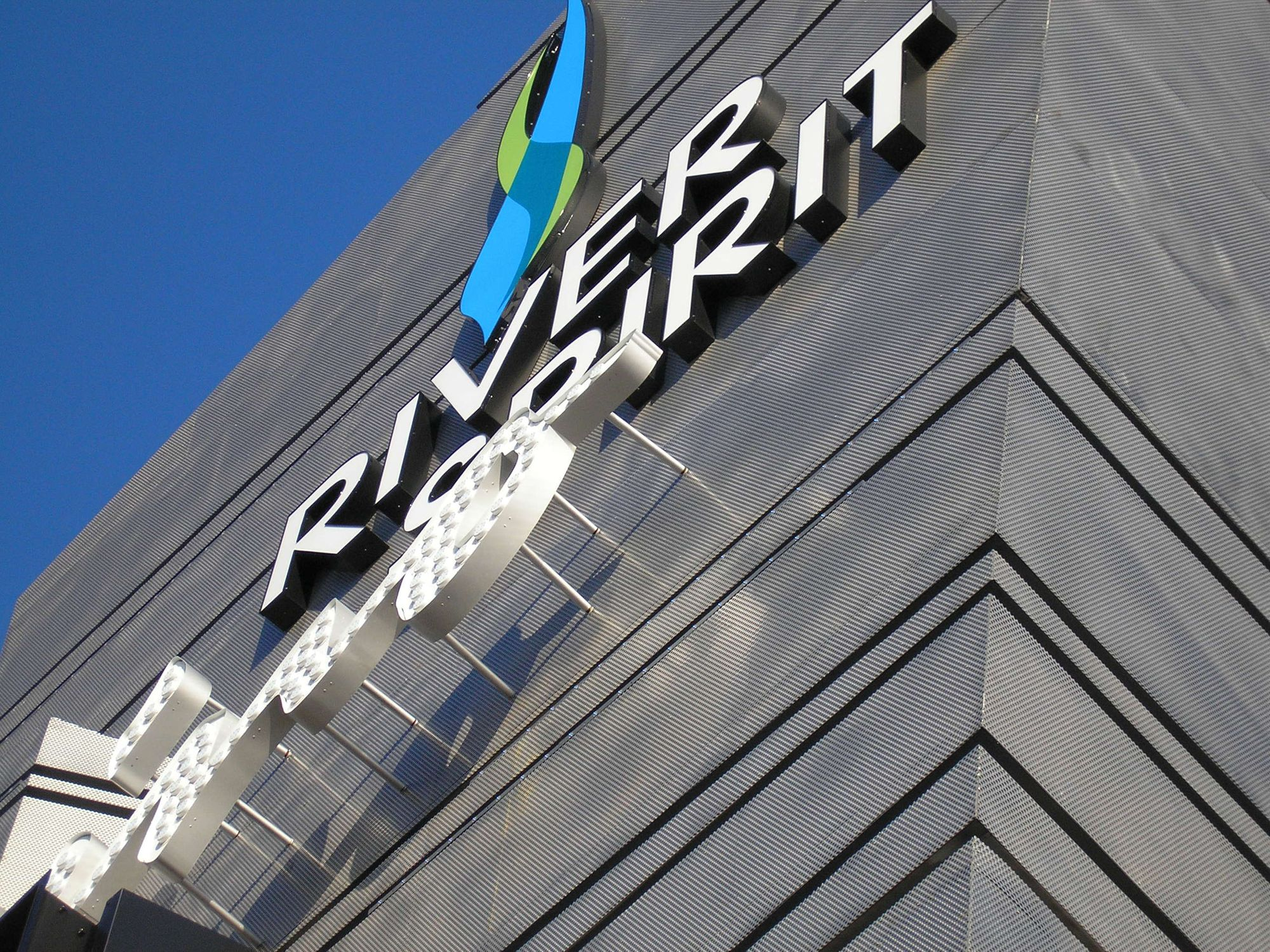 River Spirit Casino's sign composed of McNICHOLS® Perforated Stainless Steel