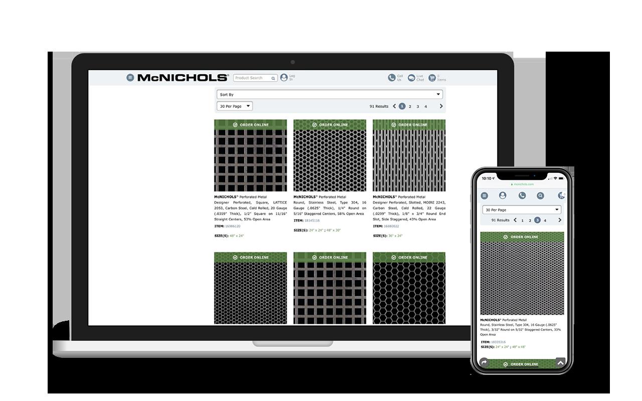 Online ordering at McNICHOLS.com