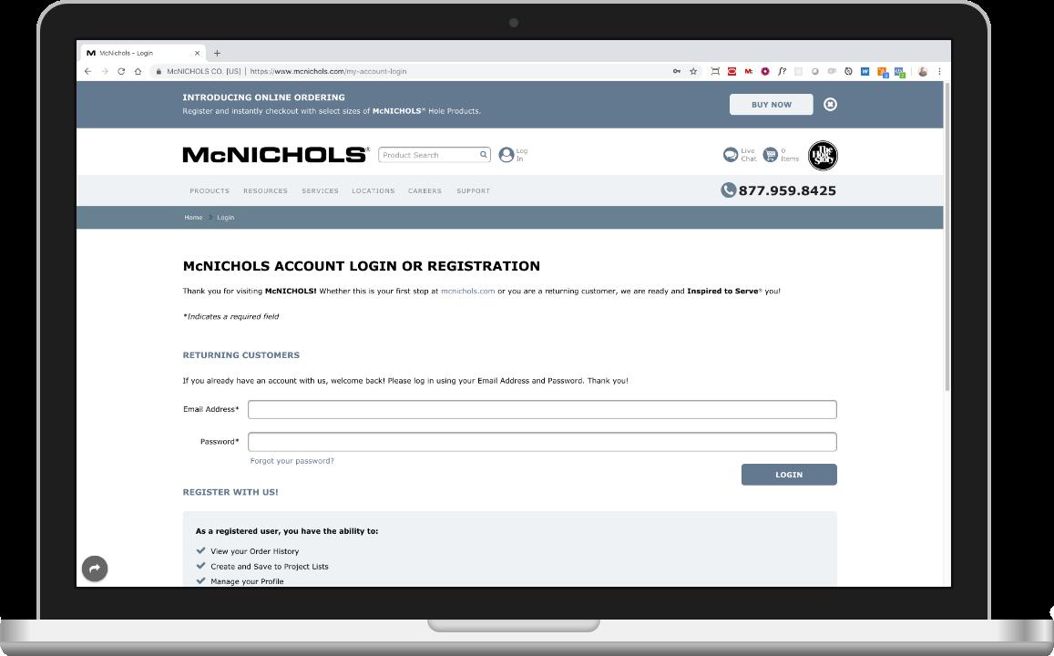 Account login at McNICHOLS.com