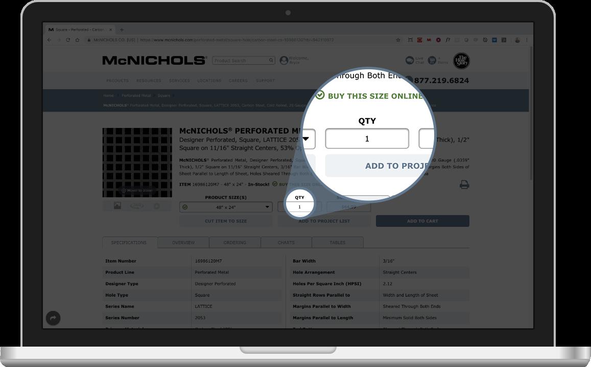 Quantity selection at McNICHOLS.com
