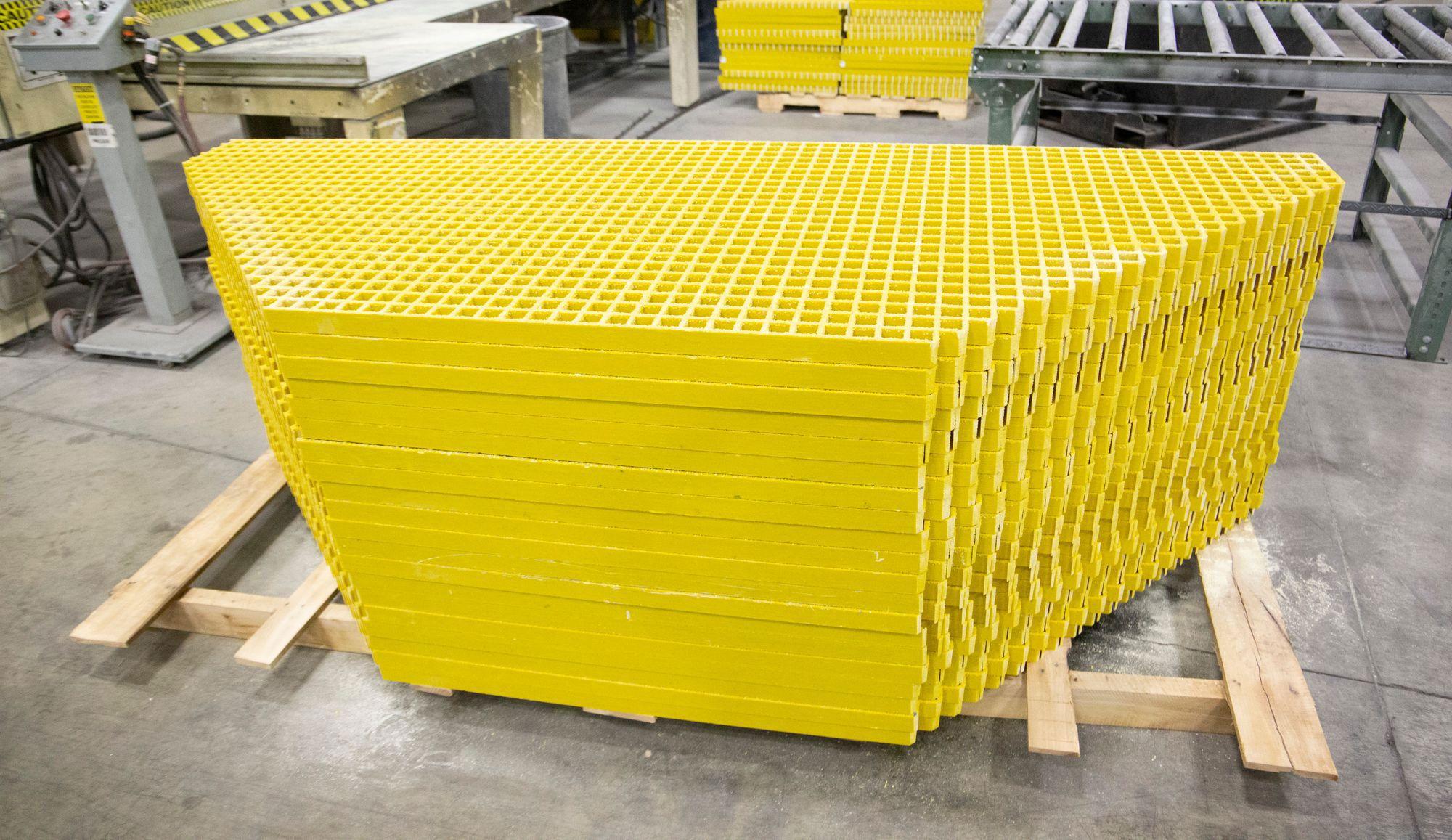 A stack of fiberglass grating