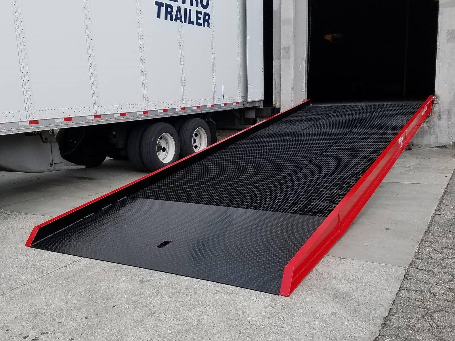 Medlin Ramps' loading dock ramp, which utilizes McNICHOLS® Serrated Bar Grating