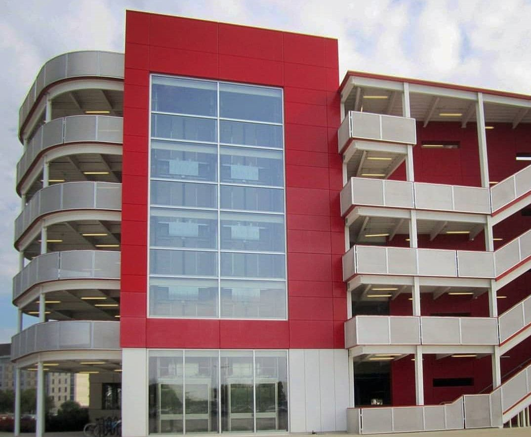 perforated metal used to create railing at the University of Houston's parking garage