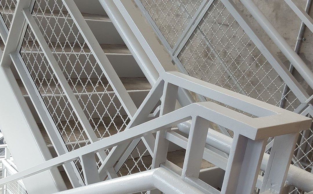 Intercrimp Wire Mesh as stairway railing Infill Panels