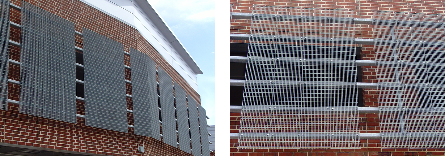 Trim-banded Bar Grating forms an exterior building facade.