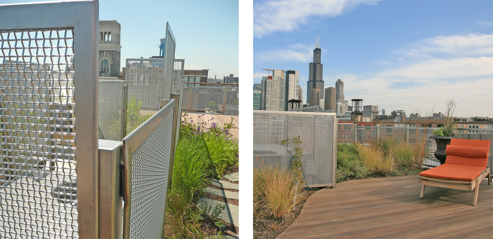 McNICHOLS® Designer Mesh stainless steel panels placed strategically on a downtown Chicago high-rise
