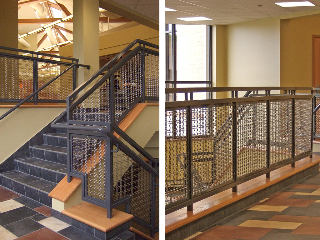 Stairways and balconies at Walsh University utilizing wire mesh infill panels
