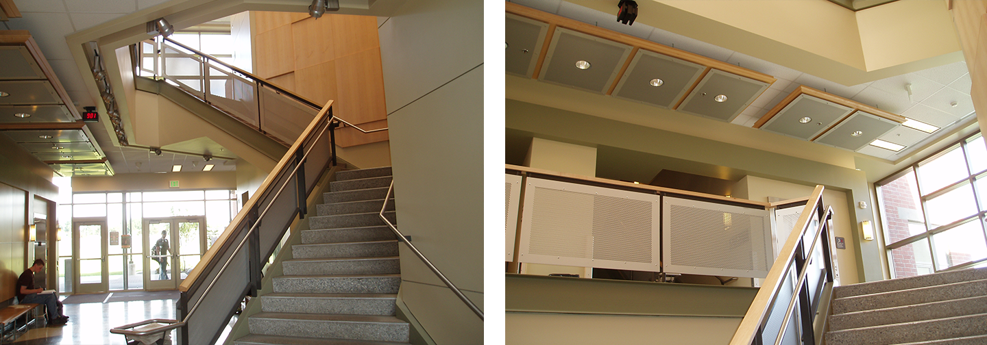 The Science and Mathematics Building at Spokane Community College's winding staircase created with McNICHOLS® Perforated Metal designer infill panels