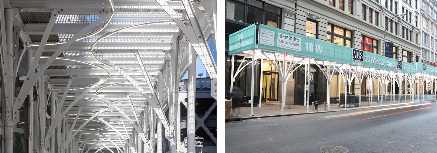 Urban Umbrella ceilings create a more appealing look than traditional scaffolding and allow for brand customization