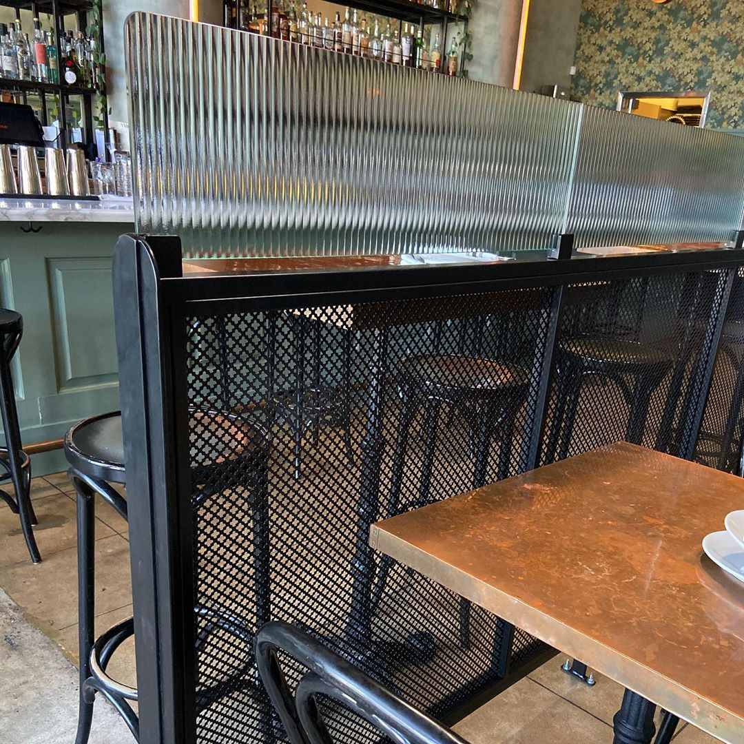 Designer wire mesh used for dividers at Cafe Birdie