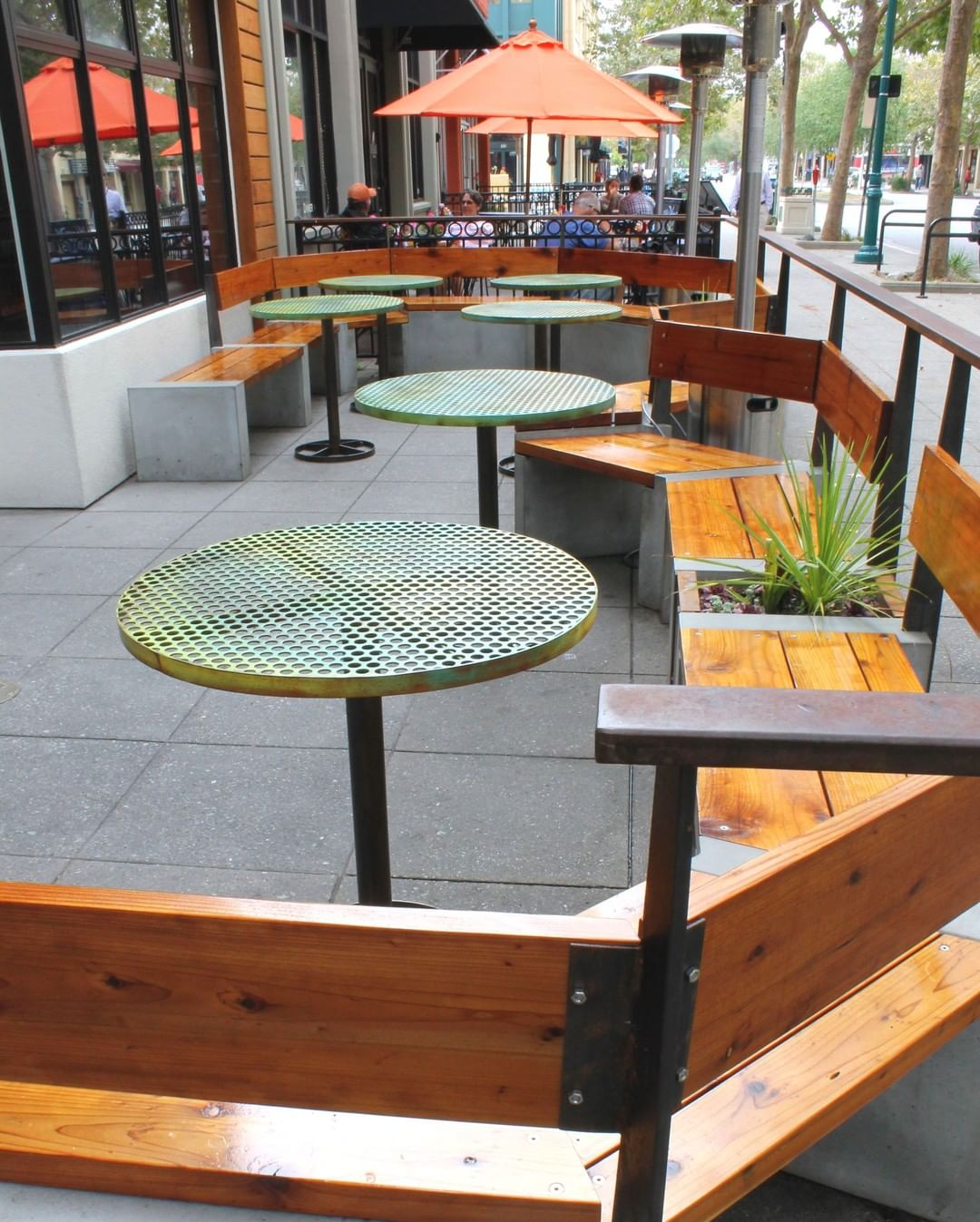 Perforated Metal tables at The Creek Eatery in Santa Cruz, CA