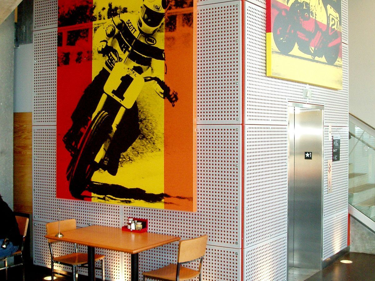 Round hole perforated metal used for aesthetics at the Harley-Davidson Museum Restaurant