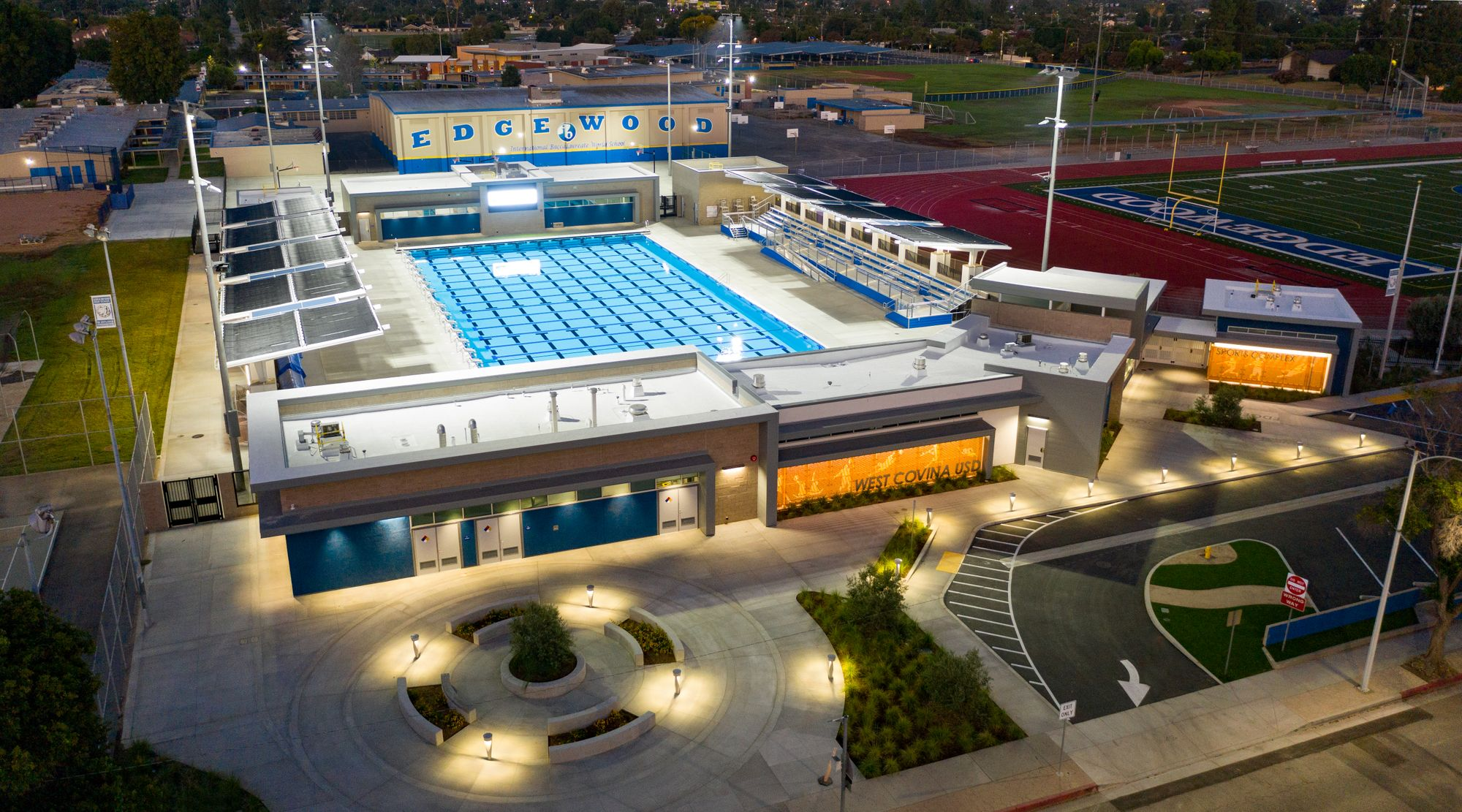 Overhead shot of West Covina USD Sports Complex at night