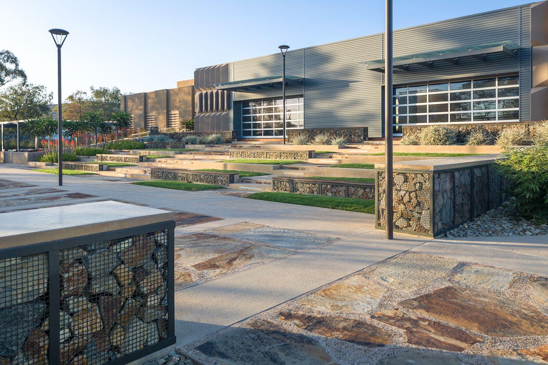 Rock-filled Gabions Anchors Campus Amenities at The Summit Rancho Bernardo