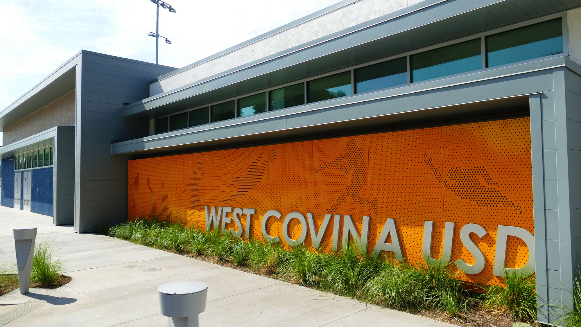 Signage for West Covina USD Sports Complex featuring custom Perforated Metal panels